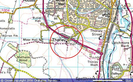 Large scale map showing location of St James the Great, Thorley